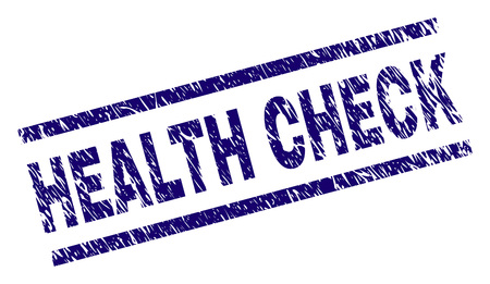 HEALTH CHECK seal print with scratced style. Blue vector rubber print of HEALTH CHECK text with dust texture. Text label is placed between parallel lines.