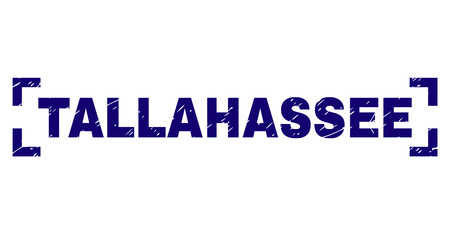 TALLAHASSEE tag seal print with distress effect. Text tag is placed between corners. Blue vector rubber print of TALLAHASSEE with corroded texture.