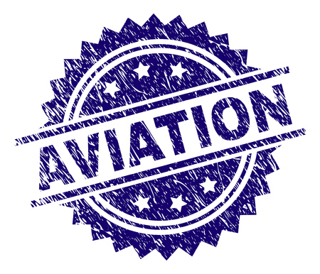 AVIATION stamp seal watermark with distress style. Blue vector rubber print of AVIATION title with retro texture. Illustration