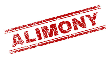 ALIMONY seal print with grunge texture. Red vector rubber print of ALIMONY text with dirty texture. Text label is placed between double parallel lines.