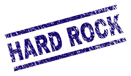 HARD ROCK seal imprint with grunge style. Blue vector rubber print of HARD ROCK text with grunge texture. Text caption is placed between parallel lines.