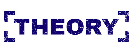 THEORY title seal print with distress texture. Text title is placed inside corners. Blue vector rubber print of THEORY with dust texture.