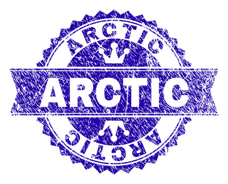 ARCTIC rosette stamp seal watermark with distress style. Designed with round rosette, ribbon and small crowns. Blue vector rubber watermark of ARCTIC label with unclean style.