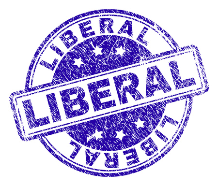 LIBERAL stamp seal imprint with grunge texture. Designed with rounded rectangles and circles. Blue vector rubber print of LIBERAL title with unclean texture. Çizim