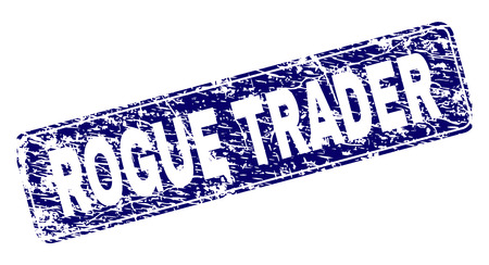 ROGUE TRADER stamp seal print with grunge style. Seal shape is a rounded rectangle with frame. Blue vector rubber print of ROGUE TRADER caption with dirty style. Illustration