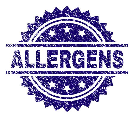 ALLERGENS stamp seal watermark with distress style. Blue vector rubber print of ALLERGENS title with scratched texture. Illustration