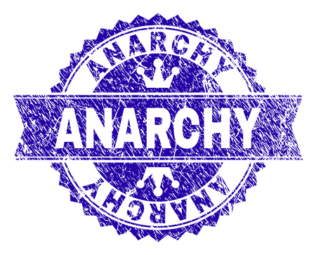 ANARCHY rosette seal watermark with grunge style. Designed with round rosette, ribbon and small crowns. Blue vector rubber watermark of ANARCHY label with grunge style.