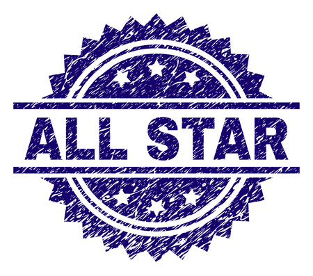 ALL STAR stamp seal watermark with distress style. Blue vector rubber print of ALL STAR tag with corroded texture. Illusztráció