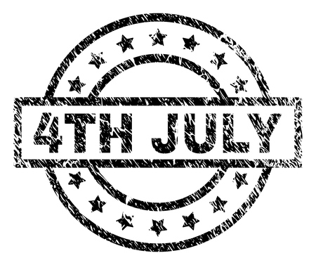 4TH JULY stamp seal watermark with distress style. Designed with rectangle, circles and stars. Black vector rubber print of 4TH JULY tag with dust texture.