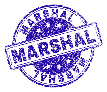 MARSHAL stamp seal watermark with grunge texture. Designed with rounded rectangles and circles. Blue vector rubber print of MARSHAL caption with grunge texture.