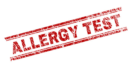 ALLERGY TEST seal print with distress style. Red vector rubber print of ALLERGY TEST caption with corroded texture. Text caption is placed between double parallel lines.