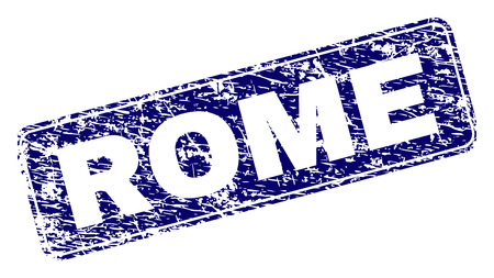 ROME stamp seal print with distress texture. Seal shape is a rounded rectangle with frame. Blue vector rubber print of ROME title with scratched texture. 일러스트
