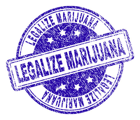 LEGALIZE MARIJUANA stamp seal watermark with grunge style. Designed with rounded rectangles and circles. Blue vector rubber print of LEGALIZE MARIJUANA label with grunge texture. Illustration