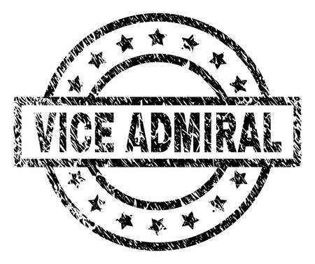 VICE ADMIRAL stamp seal watermark with distress style. Designed with rectangle, circles and stars. Black vector rubber print of VICE ADMIRAL label with scratched texture. Illustration