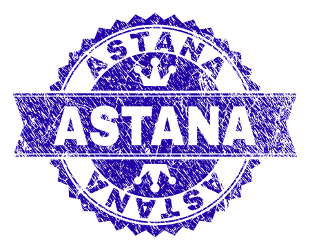 ASTANA rosette stamp watermark with distress texture. Designed with round rosette, ribbon and small crowns. Blue vector rubber print of ASTANA label with unclean texture. Illustration