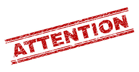 ATTENTION seal print with corroded style. Red vector rubber print of ATTENTION text with dust texture. Text title is placed between double parallel lines.