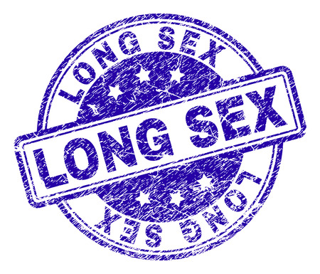 LONG SEX stamp seal watermark with grunge texture. Designed with rounded rectangles and circles. Blue vector rubber print of LONG SEX label with retro texture.