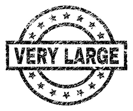 VERY LARGE stamp seal watermark with distress style. Designed with rectangle, circles and stars. Black vector rubber print of VERY LARGE label with dirty texture.