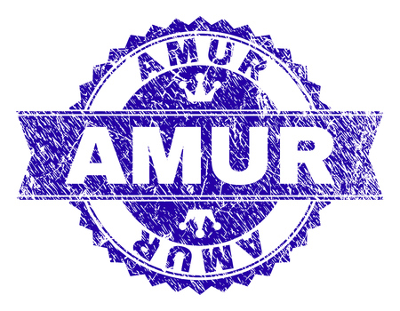 AMUR rosette stamp seal imitation with distress texture. Designed with round rosette, ribbon and small crowns. Blue vector rubber watermark of AMUR caption with unclean texture. Foto de archivo - 127155903