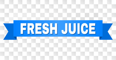 FRESH JUICE text on a ribbon. Designed with white caption and blue tape. Vector banner with FRESH JUICE tag on a transparent background.