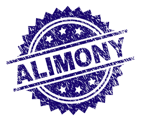 ALIMONY stamp seal watermark with distress style. Blue vector rubber print of ALIMONY text with grunge texture.