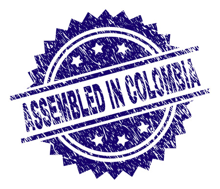ASSEMBLED IN COLOMBIA stamp seal watermark with distress style. Blue vector rubber print of ASSEMBLED IN COLOMBIA caption with retro texture.