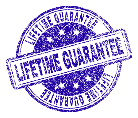 LIFETIME GUARANTEE stamp seal watermark with distress texture. Designed with rounded rectangles and circles. Blue vector rubber print of LIFETIME GUARANTEE tag with dirty texture.