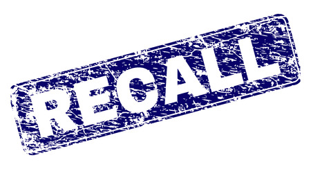 RECALL stamp seal print with distress texture. Seal shape is a rounded rectangle with frame. Blue vector rubber print of RECALL caption with dust texture.