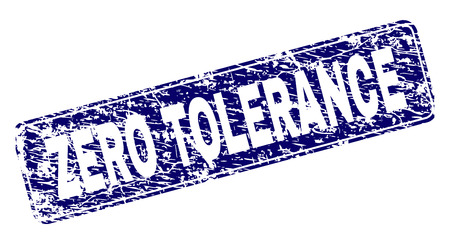 ZERO TOLERANCE stamp seal print with distress texture. Seal shape is a rounded rectangle with frame. Blue vector rubber print of ZERO TOLERANCE label with scratched texture.