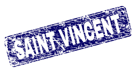 SAINT VINCENT stamp seal print with distress texture. Seal shape is a rounded rectangle with frame. Blue vector rubber print of SAINT VINCENT label with dirty texture.
