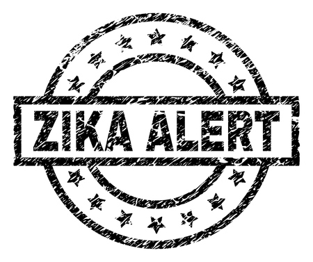 ZIKA ALERT stamp seal watermark with distress style. Designed with rectangle, circles and stars. Black vector rubber print of ZIKA ALERT tag with corroded texture.
