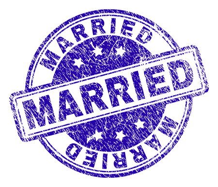 MARRIED stamp seal watermark with grunge texture. Designed with rounded rectangles and circles. Blue vector rubber print of MARRIED caption with grunge texture.