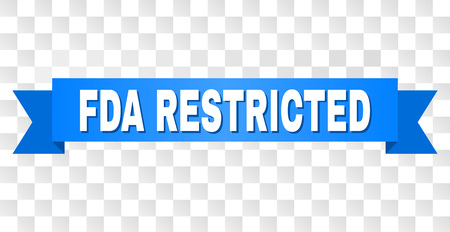 FDA RESTRICTED text on a ribbon. Designed with white caption and blue tape. Vector banner with FDA RESTRICTED tag on a transparent background. Ilustração