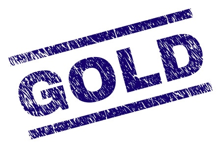 GOLD seal print with scratced style. Blue vector rubber print of GOLD tag with corroded texture. Text tag is placed between parallel lines.