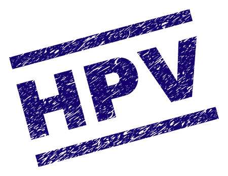 HPV seal print with scratced style. Blue vector rubber print of HPV text with dirty texture. Text caption is placed between parallel lines.