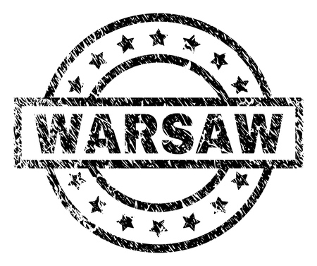 WARSAW stamp seal watermark with distress style. Designed with rectangle, circles and stars. Black vector rubber print of WARSAW label with unclean texture. Ilustrace
