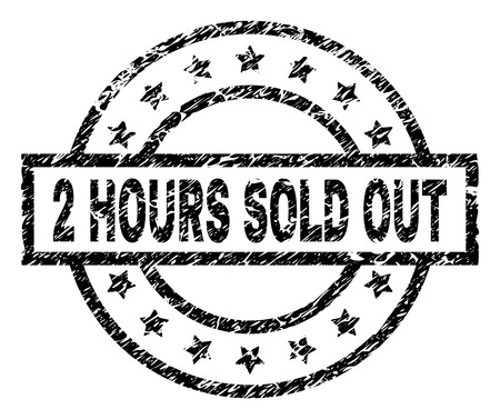 2 HOURS SOLD OUT stamp seal watermark with distress style. Designed with rectangle, circles and stars. Black vector rubber print of 2 HOURS SOLD OUT text with grunge texture. Illustration