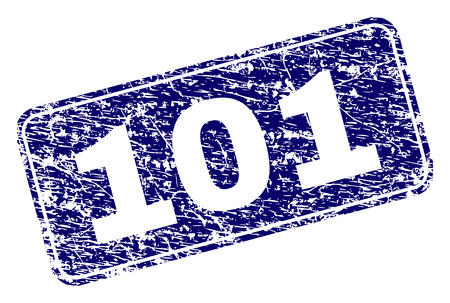 101 stamp seal print with grunge texture. Seal shape is a rounded rectangle with frame. Blue vector rubber print of 101 text with unclean texture.