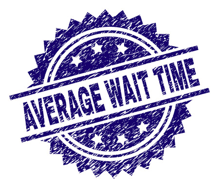 AVERAGE WAIT TIME stamp seal watermark with distress style. Blue vector rubber print of AVERAGE WAIT TIME text with scratched texture.