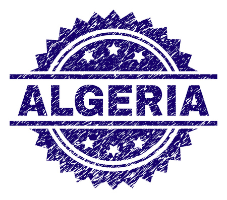 ALGERIA stamp seal watermark with distress style. Blue vector rubber print of ALGERIA caption with dirty texture.