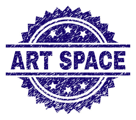 ART SPACE stamp seal watermark with distress style. Blue vector rubber print of ART SPACE caption with grunge texture.
