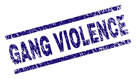 GANG VIOLENCE seal imprint with grunge style. Blue vector rubber print of GANG VIOLENCE text with grunge texture. Text title is placed between parallel lines.