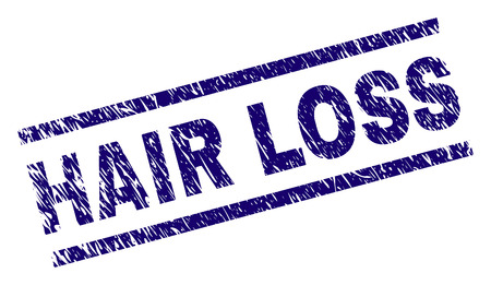 HAIR LOSS seal print with grunge style. Blue vector rubber print of HAIR LOSS caption with grunge texture. Text caption is placed between parallel lines.