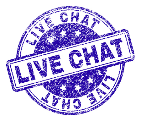 LIVE CHAT stamp seal imprint with grunge texture. Designed with rounded rectangles and circles. Blue vector rubber print of LIVE CHAT title with grunge texture. Illustration