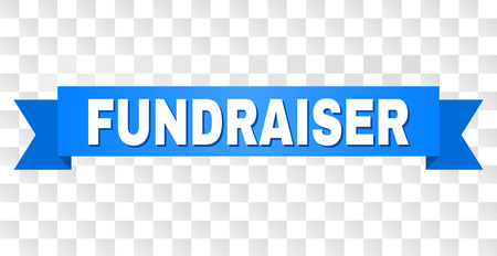 FUNDRAISER text on a ribbon. Designed with white title and blue tape. Vector banner with FUNDRAISER tag on a transparent background.
