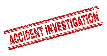 ACCIDENT INVESTIGATION seal watermark with distress texture. Red vector rubber print of ACCIDENT INVESTIGATION text with grunge texture. Text label is placed between double parallel lines. Ilustrace