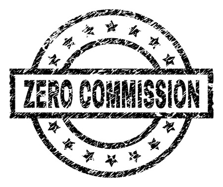 ZERO COMMISSION stamp seal watermark with distress style. Designed with rectangle, circles and stars. Black vector rubber print of ZERO COMMISSION caption with dust texture. Illustration