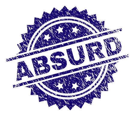ABSURD stamp seal watermark with distress style. Blue vector rubber print of ABSURD label with grunge texture.