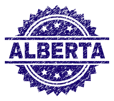 ALBERTA stamp seal watermark with distress style. Blue vector rubber print of ALBERTA tag with scratched texture.