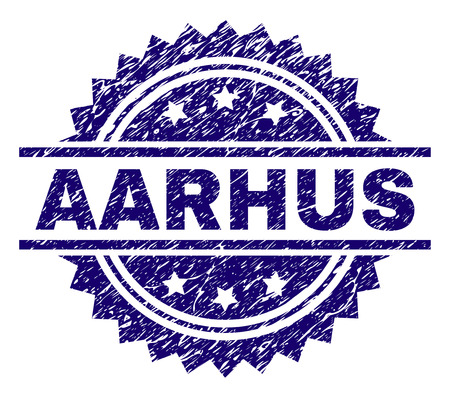 AARHUS stamp seal watermark with distress style. Blue vector rubber print of AARHUS tag with grunge texture.